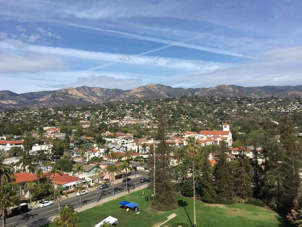 Looking west into the mountains from the top of the Santa Barbara courthouse.