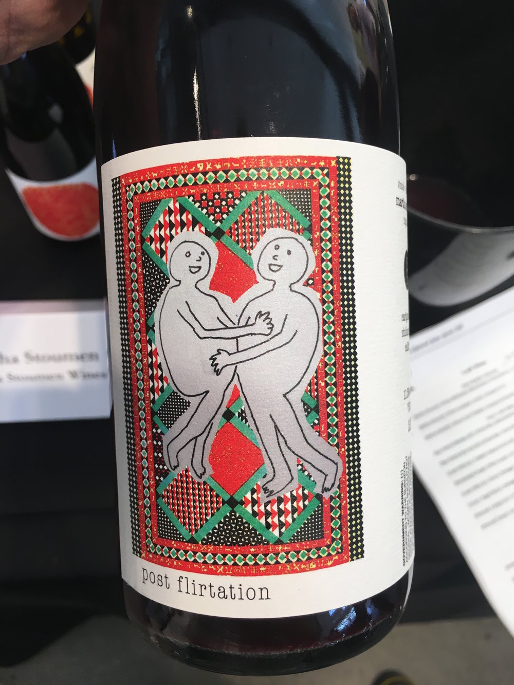 Stoumen's 'Post Flirtation' bottle of Carignan/Zinfandel deliciousness. A steal at $20.