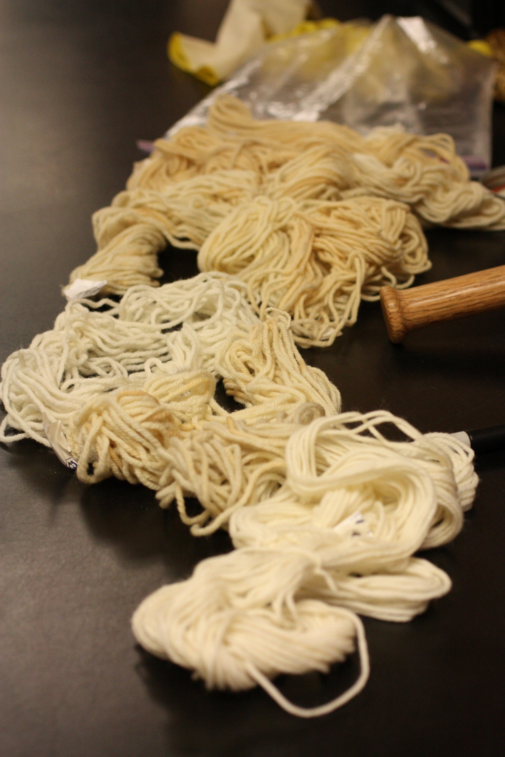 The wool used for dyeing can be treated with a mordant (a fixative that helps the pigment bind to the fiber and give you consistent, more even results). Some common mordants are alum and iron.