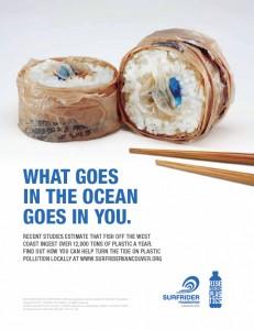 Rise Above Plastics sushi ad