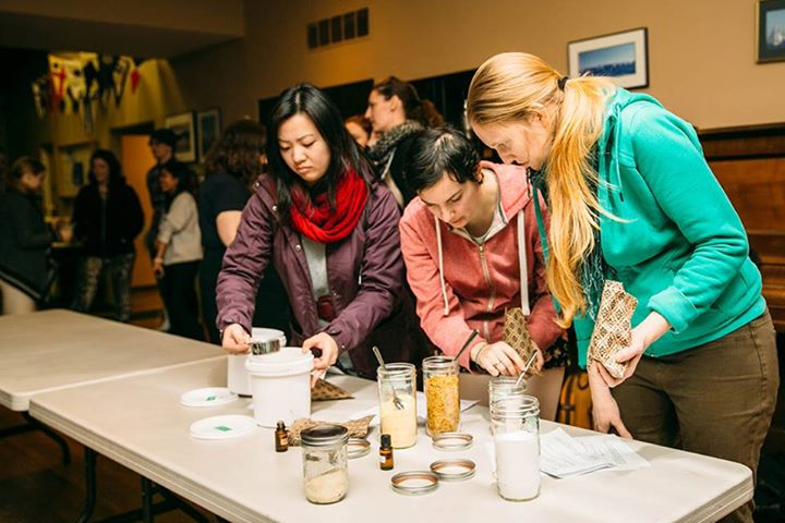 Participants learn how to make microbead free facial scrubs. Just one of many easy solutions to eliminate wasteful microbeads. Thanks to the   Soap Dispensary   for hosting!  Photo courtesy of Jackie Dives.