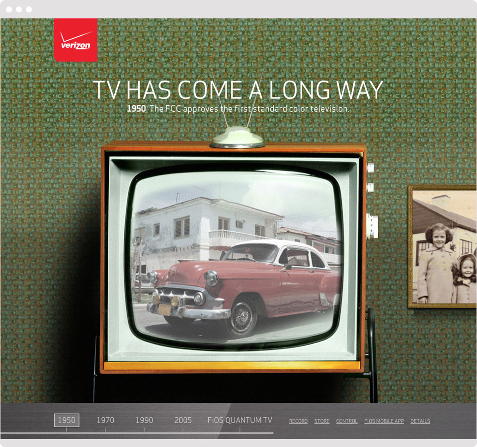 The microsite zooms in through tv screens, to transition through the eras.