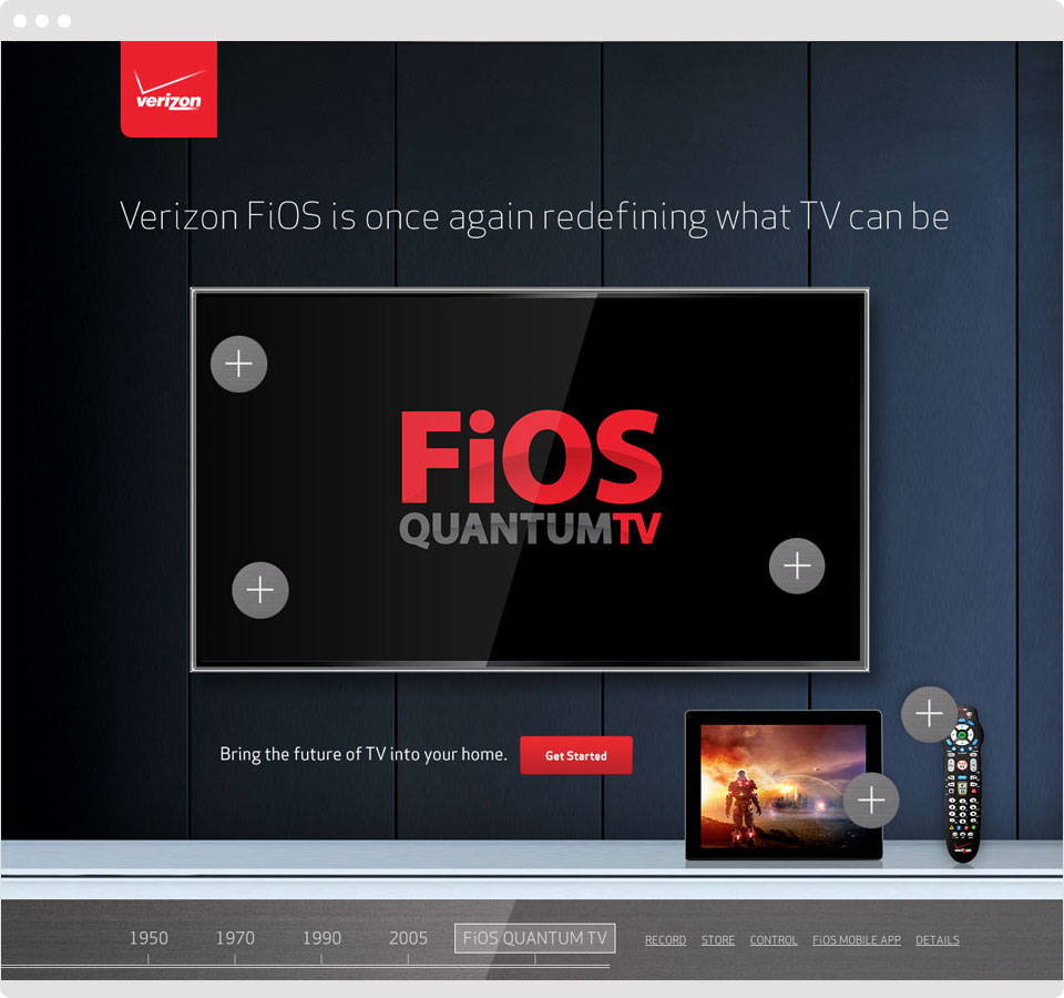 By selecting one of the + icons, the features of Quantum TV are revealed through a zoom effect.