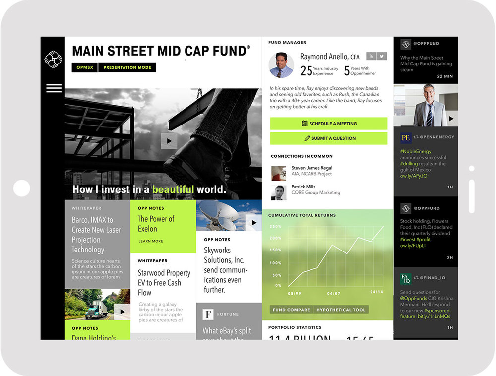 The fund detail page is full of thought leadership, data, and the unique ability to contact the fund manager.