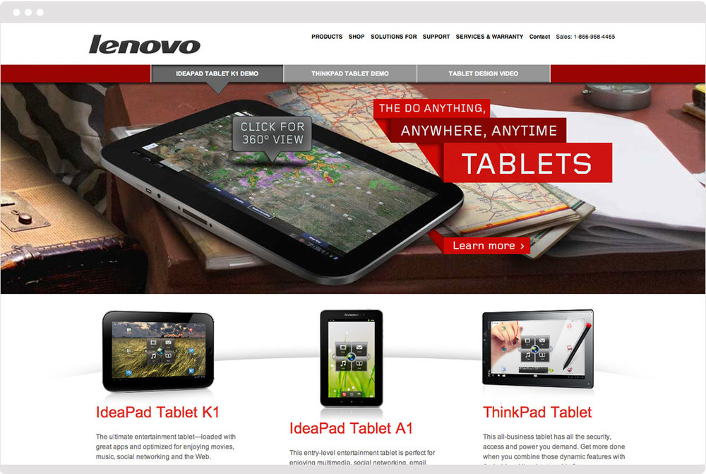 The tablet microsite allows for a completely interactive experience, while staying true to the Lenovo branding.