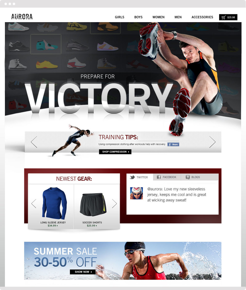These two examples of the starter store show that distinct brand qualities can be expressed, even though a template has been utilized.
