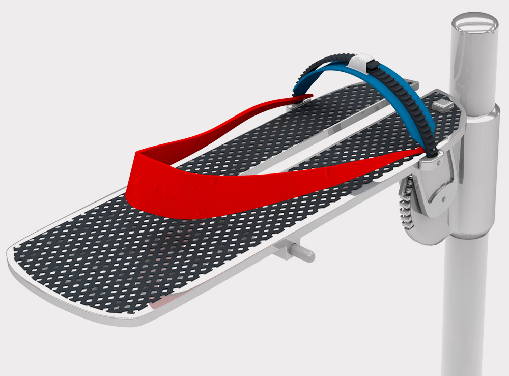 """Flexibility & Stregnth  To accommodate all sizes, the length of the platform is 12.5"""" (equivalent to a men's size 15). The width is also adjustable accommodating the most narrow width (2 13/16""""). An elastic band stretches to accommodate smaller sizes. Between the band and the adjustable clip in the front, the foot is completely secured. —"""