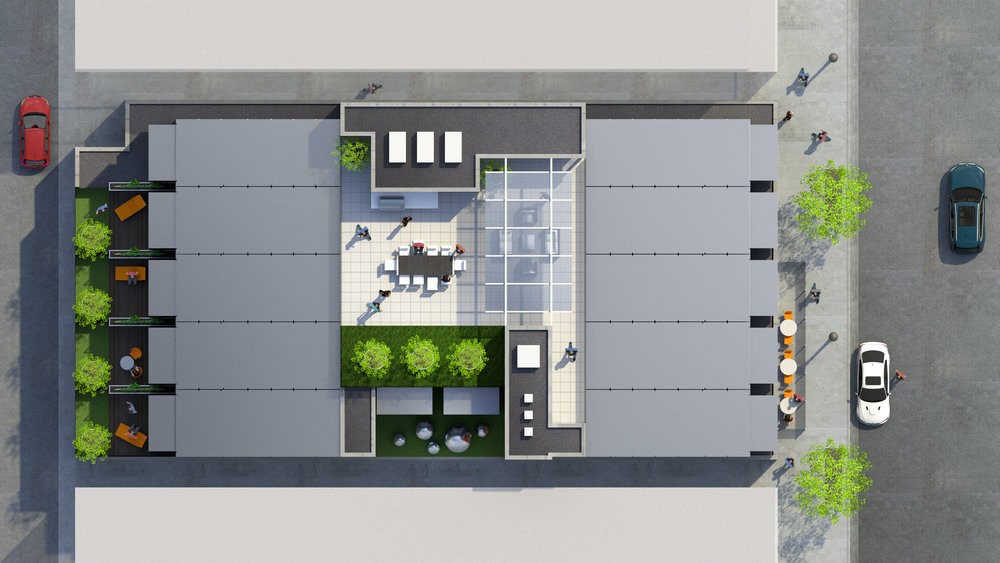proposed site plan showing exterior amenity spaces. rendering courtesy of three sixty design (www.sitedrivendesign.com)