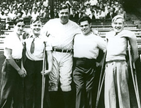 Baseball great Babe Ruth poses with ICD clients