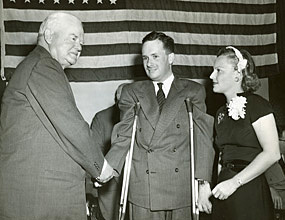President Herbert Hoover meets an ICD client, flanked by Margaret Milbank Bogert, daughter of the founder, in 1949.