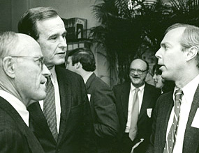 Jeremiah Milbank, Jr., George Bush, Sr. and Jeremiah Bogert (grandson of the founder) at an ICD event in 1983.