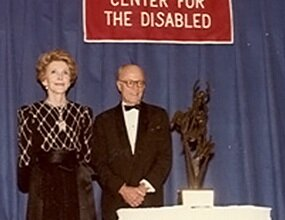 Nancy Reagan and Jeremiah Milbank, Jr. at the 1984 ICD Awards Dinner.