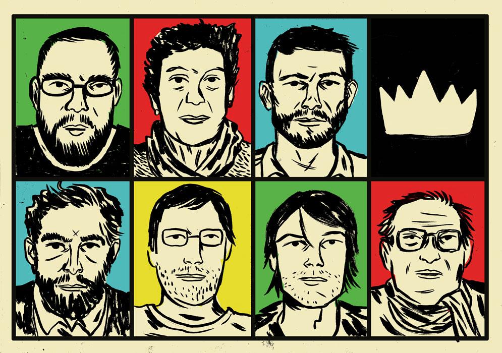 Acima, Ferréz, Ivana Arruda Leite, Rodrigo Lacerda; abaixo, Daniel Galera, Antonio Prata, Santiago Nazarian, Ruy Castro