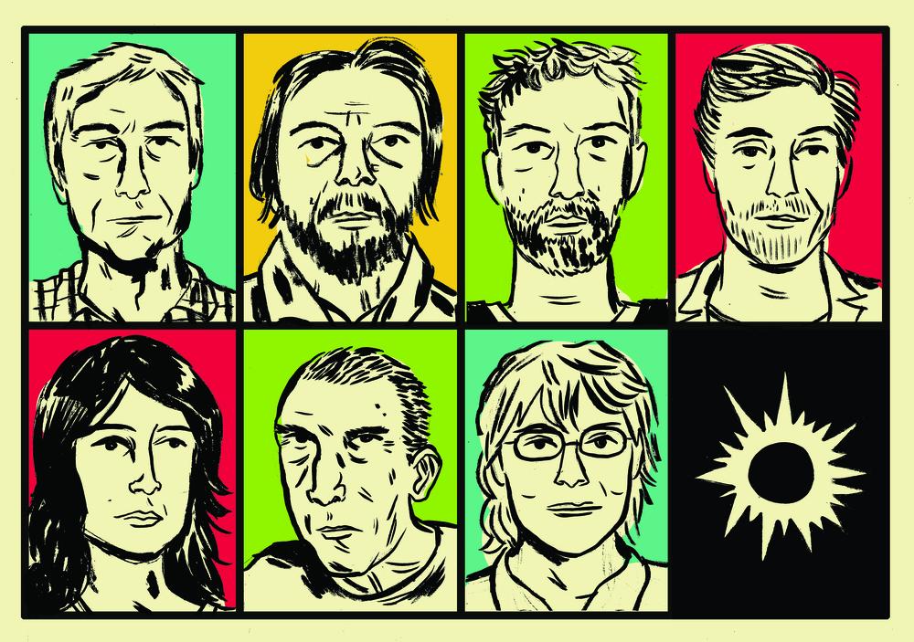 Acima, Reinaldo Moraes, Cristóvão Tezza, Michel Laub, Gregorio Duvivier; abaixo, Simone Campos, Sérgio Sant'Anna, Vilma Arêas