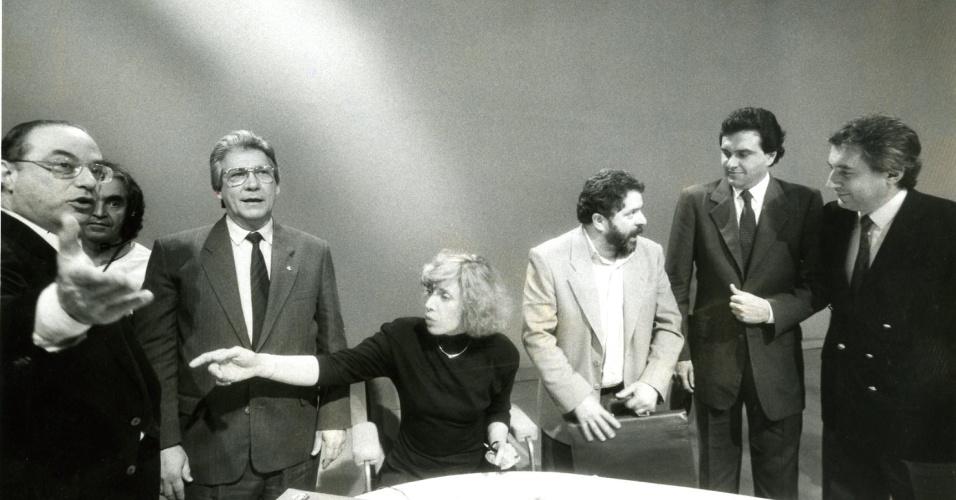 Paulo Maluf, Mario Covas, Marília Gabriela, Lula, Ronaldo Caiado, Guilherme Afif Domingos antes do antológico debate da Band. Quem não viu, google já!