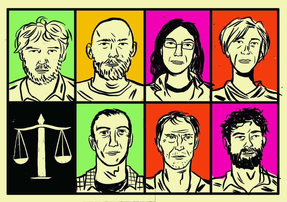 No alto, Fabrício Corsaletti. Luiz Antonio Simas, Carol Bensimon, Beatriz Bracher; abaixo, Cadão Volpato, Chacal e João Filho