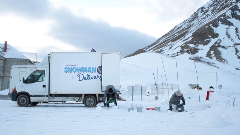A still from the Snowman Delivery video