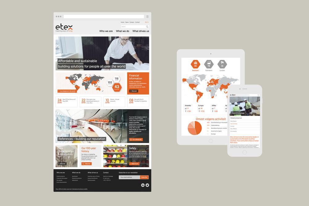 Responsive Etex website