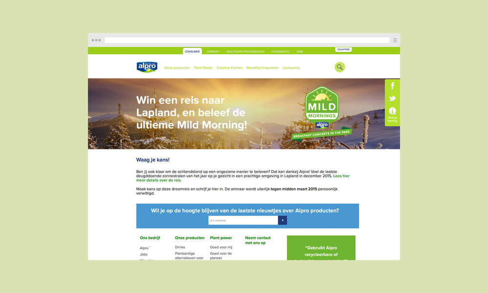 Alpro Mild Mornings website