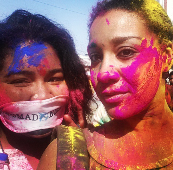 Amanda and I during Holi Festival of Colors 2015.