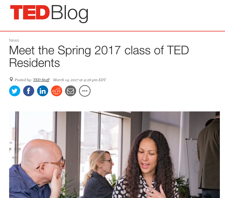 TED Blog : Announcing Evita Robinson as a 2017 Spring TED Resident                March 2017