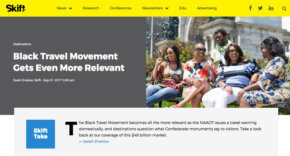 Skift.com  : Black Travel Movement Gets Even More Relevant     September 2017