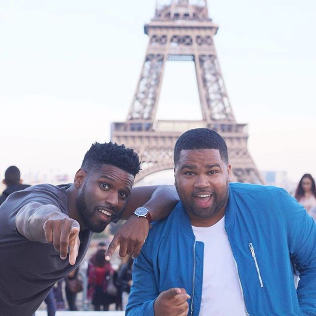 When two #Hamptonians collide in #Paris. #Tribe members @kevsumner and @catchgifucan at the Eiffel Tower. #Hampton #HBCU 🇫🇷 Did you go to an HBCU? #NOMADNESS