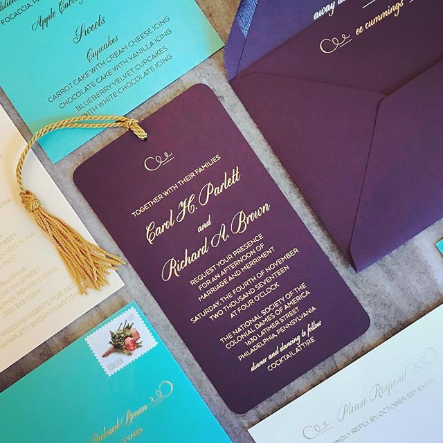 We've been busy over here, and promise to get more posts up. For now, we're so excited to share this gorgeous suite for the loveliest couple. A gold foil bookmark suite with beautiful quotes from #eecummings for their wedding at #colonialdames