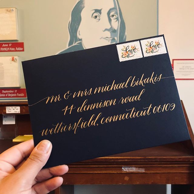 We offer assembly and mailing for our clients. We bring invitations to the #oldcityphilly #benjaminfranklin post office to be hand canceled. These beauties were addressed by the insanely talented @mnykcalligraphy