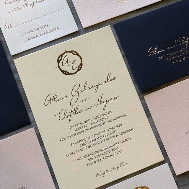 We've been silent but busy! Here's a peek at this beautiful invitation for a previous client's brother. Ecru @craneandco Lettra, blush reception cards, Pearl RSVP cards, and navy envelopes. All with rose gold foil.