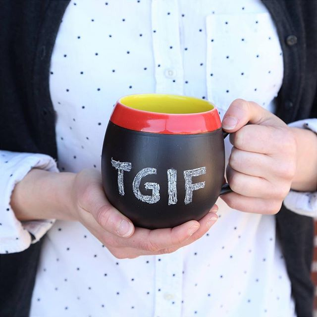 One of our favorite things to write on this chalk mug. Happy Fri-yay! (Join us Mon-Fri next week and show your school badge for 20% off your entire purchase) #tgif #chalk #mug #teacherappreciation 📷by @tenthousandvillages