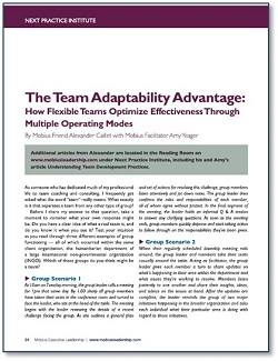 Article in Mobius Strip The Team Adaptability Advantage: How Flexible Teams Optimize Effectiveness Through Multiple Operating Modes     click here for the .pdf