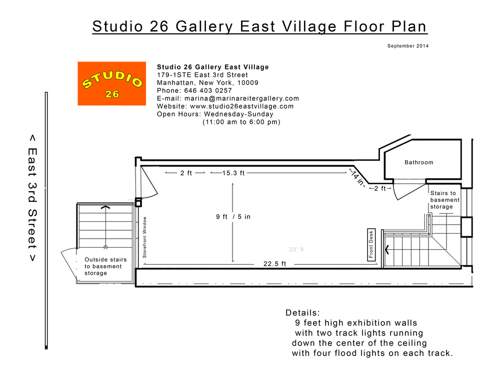 Studio 26 Gallery East Village Floor Plan 0914