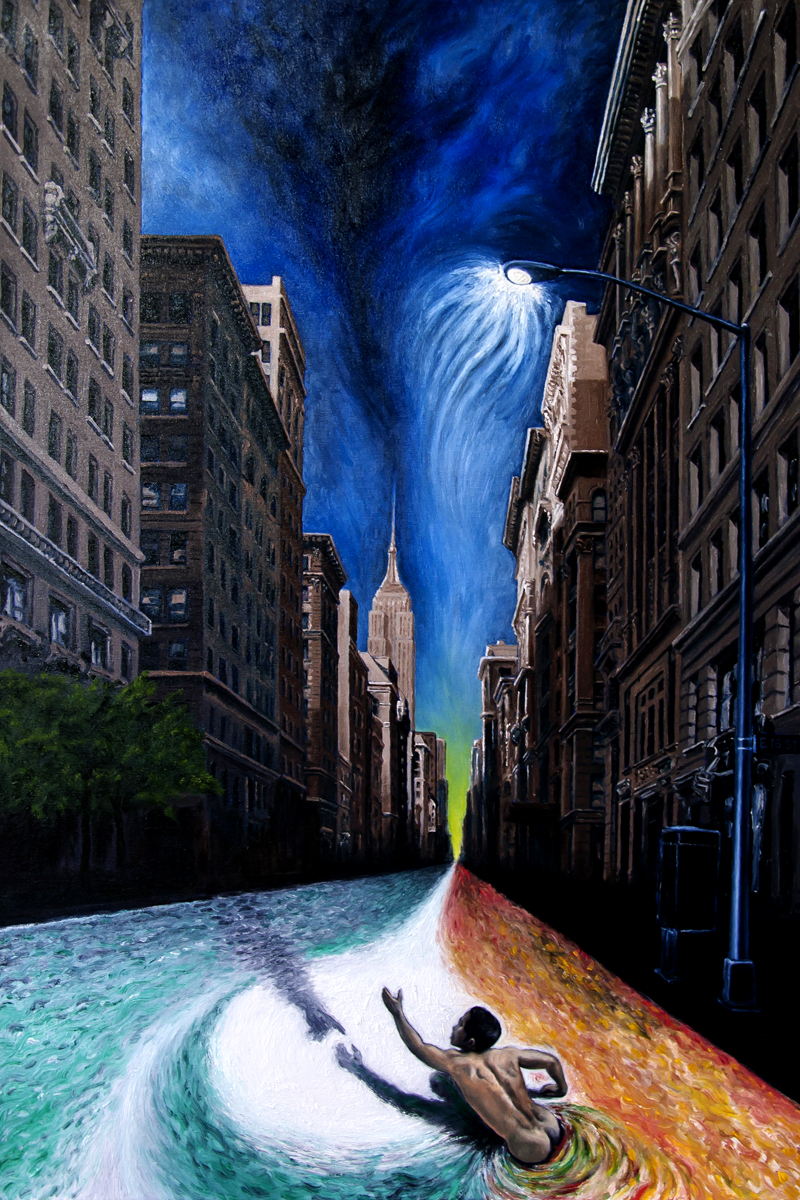 """""""5th Avenue Ratrace""""  36"""" x 24""""  oil on canvas"""