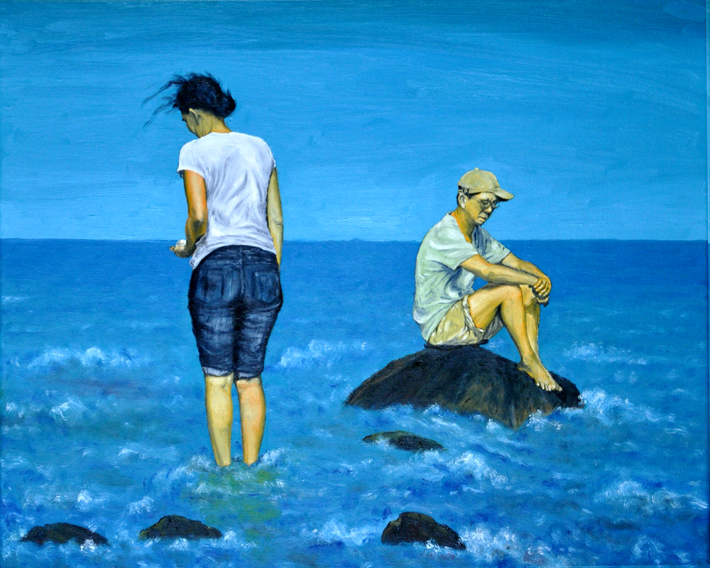 """""""Treasure Seekers on a Foreign Shore""""  12""""""""x 16""""  oil on canvas"""