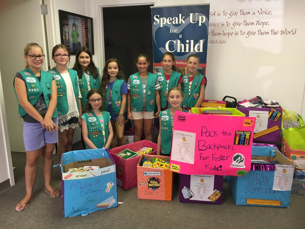 Pequannock Girl Scout Troop 95401 dropped off carloads of school supplies