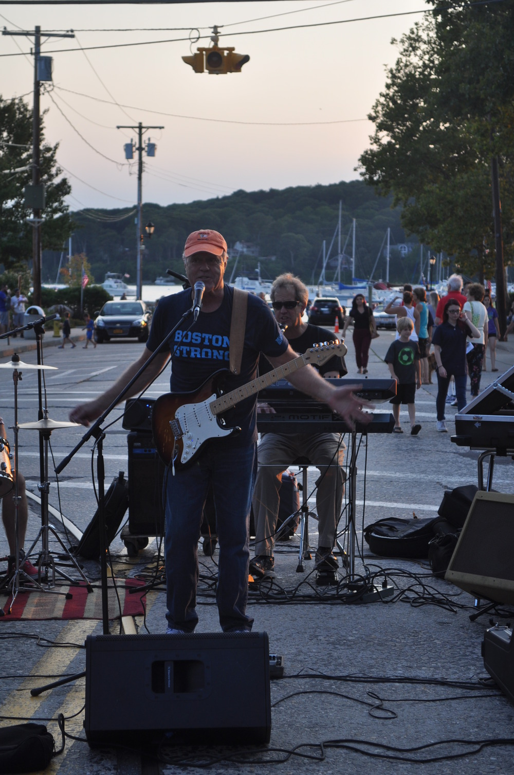 The Late Night Audio Band performs with the harbor as their backdrop.