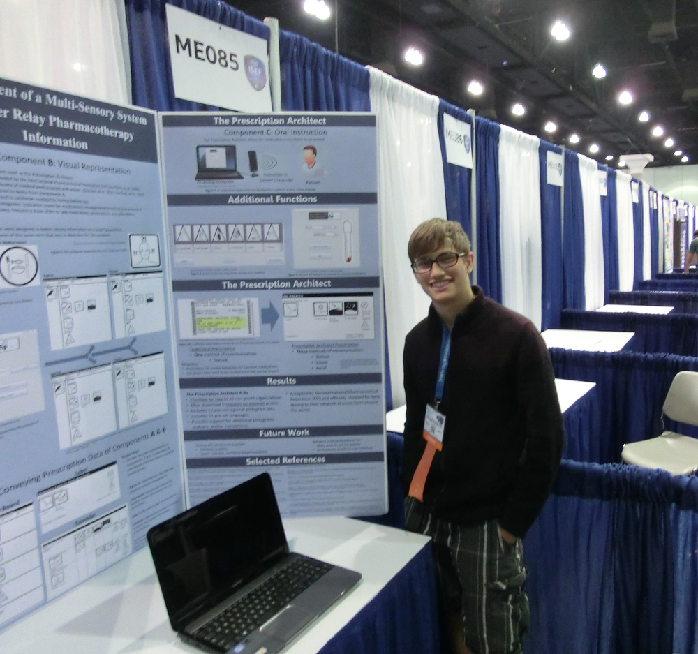 Matthew O'Connell, 17, is seen here showing off his Prescription Architect (TPA) software at the Intel International Science and Engineering Fair inCalifornia from May 11-16.