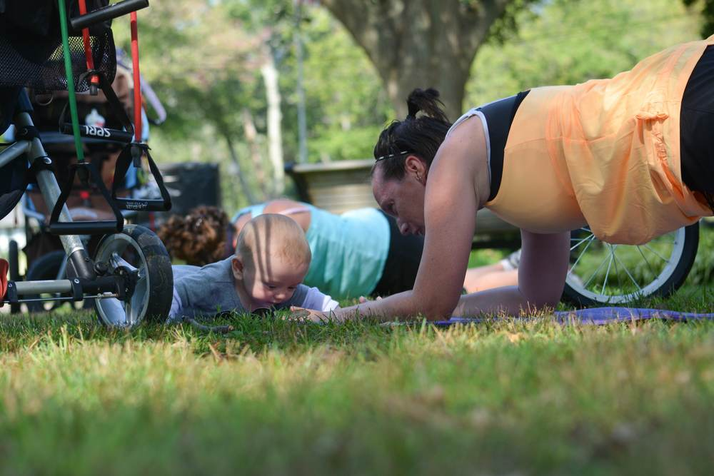 Mothers and children exercise in a variety of ways that benefit both!