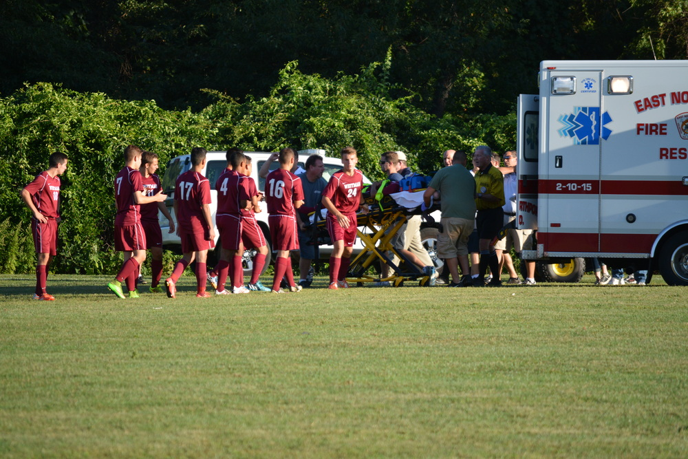 A Whitman player was hurt in the game.