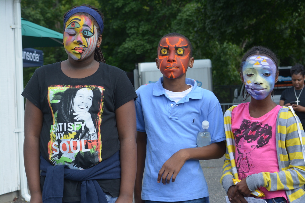 The event face painter would paint only full-face designs.