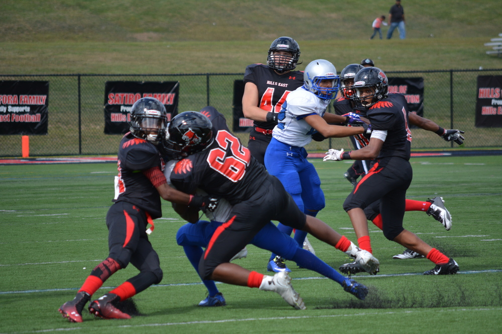 Time after time, the Thunderbirds kept Copiague quiet on offense, just as it does here in Saturday's homecoming game.