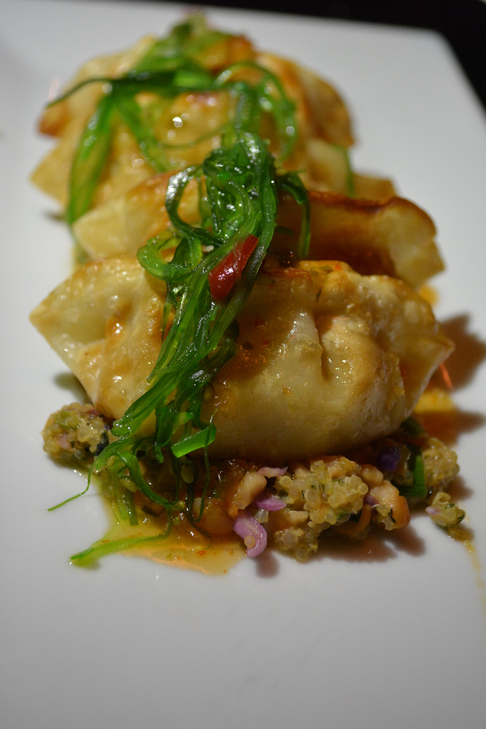The Pan Crisped Teriyaki Chicken Dumplings, mentioned above.