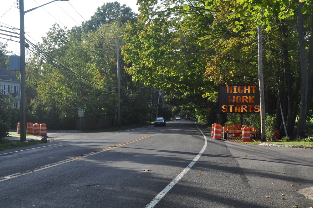 A sign alters motorists to the beginning of a Route 25A construction project in Cold Spring Harbor. Repairs in the $6.5 million project will span 10.6 miles from Cold Spring Harbor to Fort Salonga. (Long Islander News photo/Danny Schrafel)