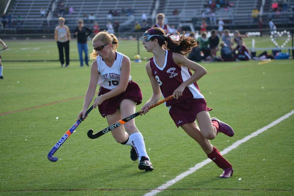Senior Christina McFelia, right, looks for the ball on Friday in a road game against Bay Shore – a game in which she scored the winning goal.