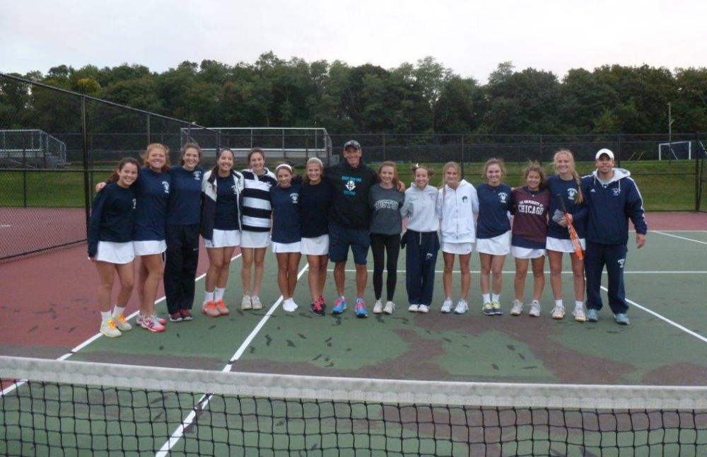 The Huntington girls tennis team has won the league championship.