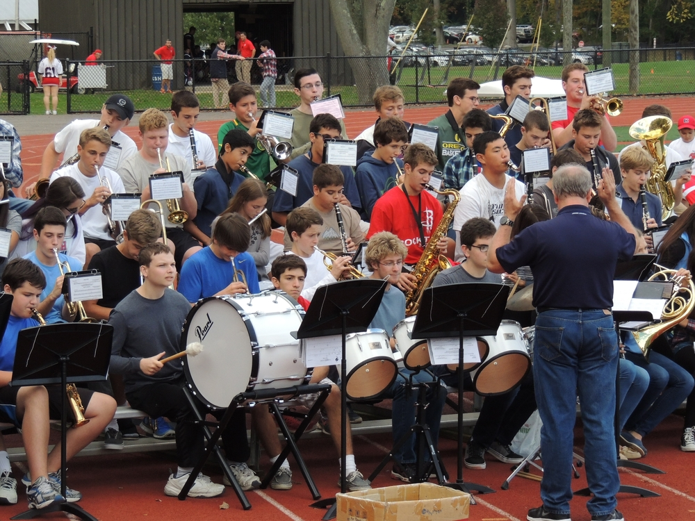 The Cold Spring Harbor High School band performed for the crowd during Saturday's homecoming game between the Seahawks and Oyster Bay.