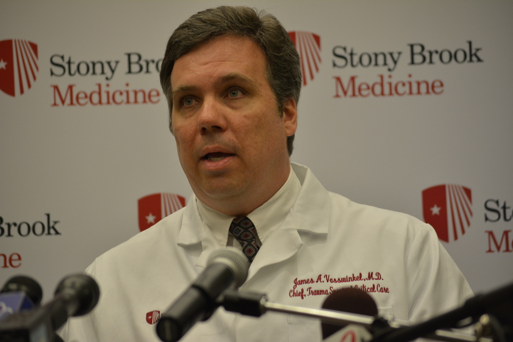Dr. James Vosswinkel of Stony Brook University Hospital speaks about Second Precinct Police Officer Nicholas Guerrero, one of his patients, who was released from the hospital on Friday following a hit-and-run on Sept. 22 that left him critically injured.