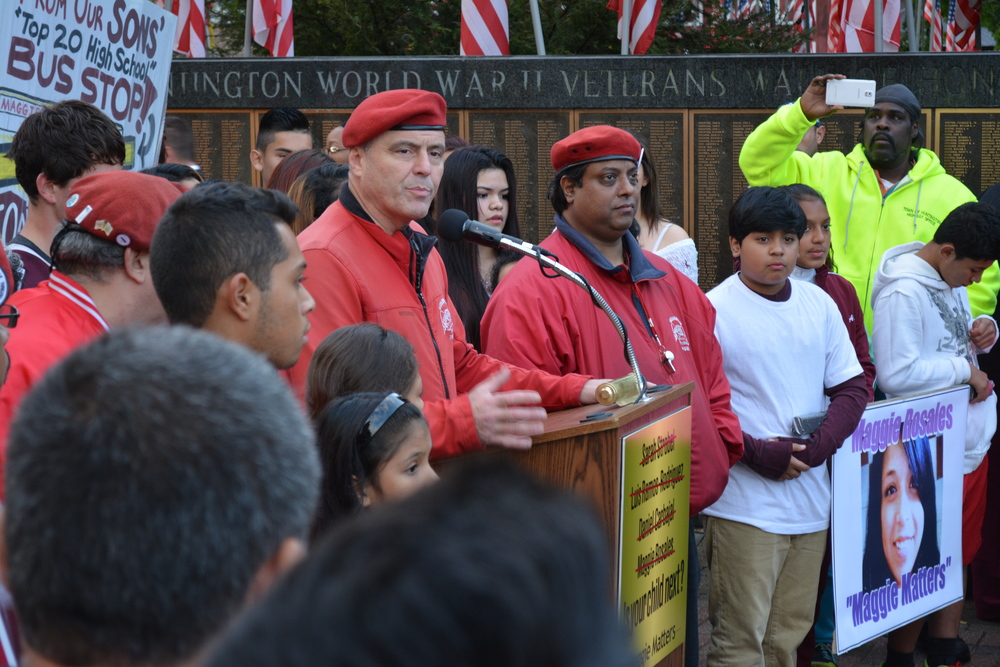 Guardian Angels founder Curtis Sliwa, pictured outside Huntington Town Hall Oct. 21, said volunteers are intensifying their efforts in Huntington Station.