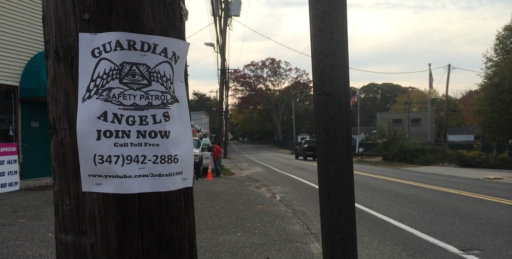 Flyers posted around the Station call for volunteers to help patrol the area. (Long Islander News photo / Arielle Dollinger)